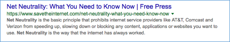 Net Neutrality Google Search Snippet