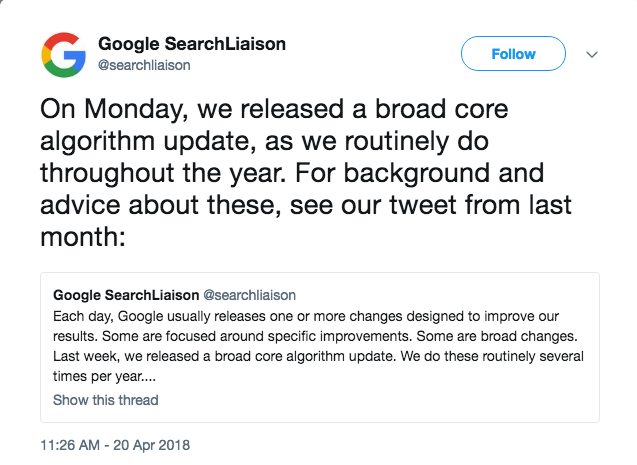 google announcement algorithm update
