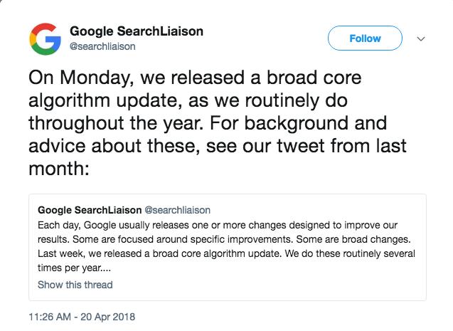 google announcement algorithm update