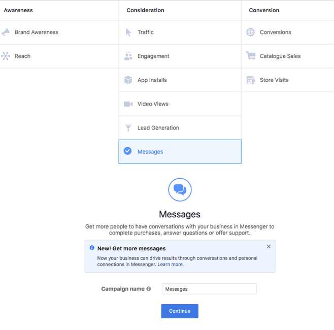 Facebook Messenger Setting Up Sponsored Messages